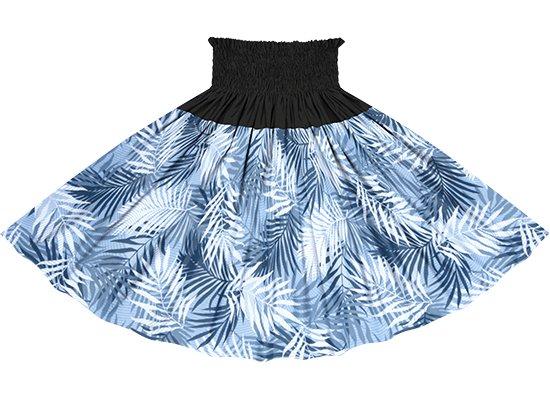 【蔵出し】【切り替えパウスカート】 青のヤシ柄とブラックの無地 ykpau-2789BL
