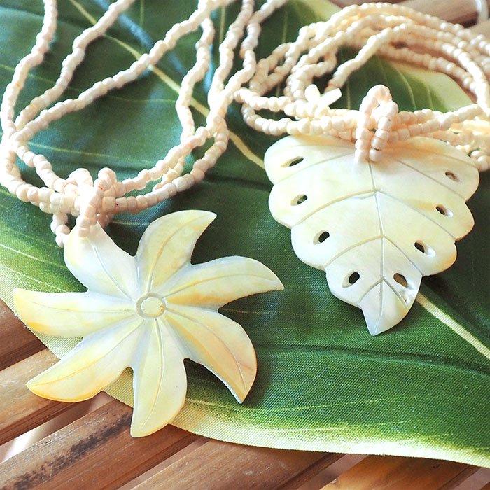 シェル ネックレス プルメリア モンステラ ホワイト チョーカー fsac-necklace-4BXZ 【メール便可】
