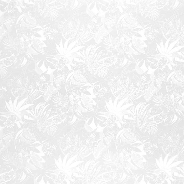 【カット生地】(2ヤード) 白のハワイアンファブリック オーキッド・トライバルリーフ柄 fab-2y-2693WH【4yまでメール便可】