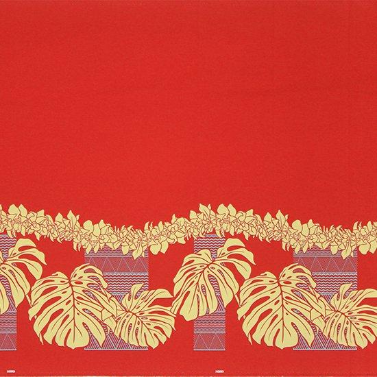 【カット生地】(2ヤード) 赤のハワイアンファブリック モンステラ・シンビジウム・カヒコ柄 fab-2y-2778RD【4yまでメール便可】