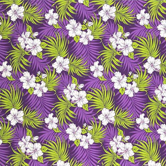 【カット生地】(3ヤード) 紫のハワイアンファブリック ハイビスカス・ヤシ柄 fab-3y-2618PP【4yまでメール便可】