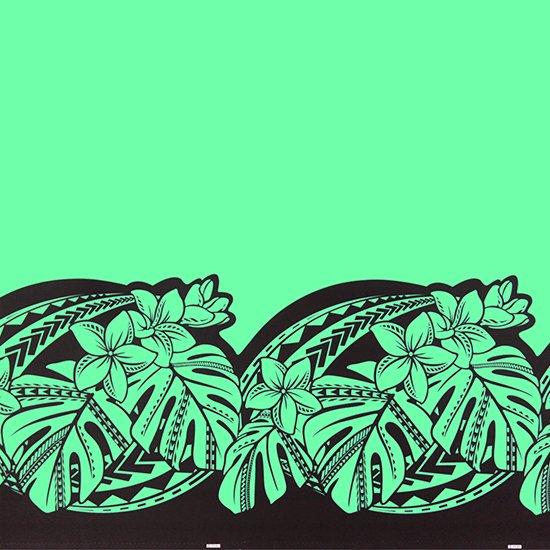 【カット生地】(3ヤード) ヒスイ色のハワイアンファブリック プルメリア・モンステラ柄 fab-3y-2765JD【4yまでメール便可】