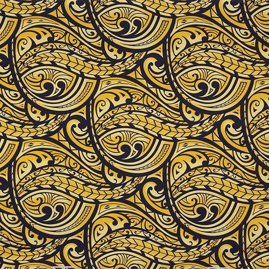 黄色のハワイアンファブリック カヒコ・グラデーション柄 fab-2830YW 【4yまでメール便可】