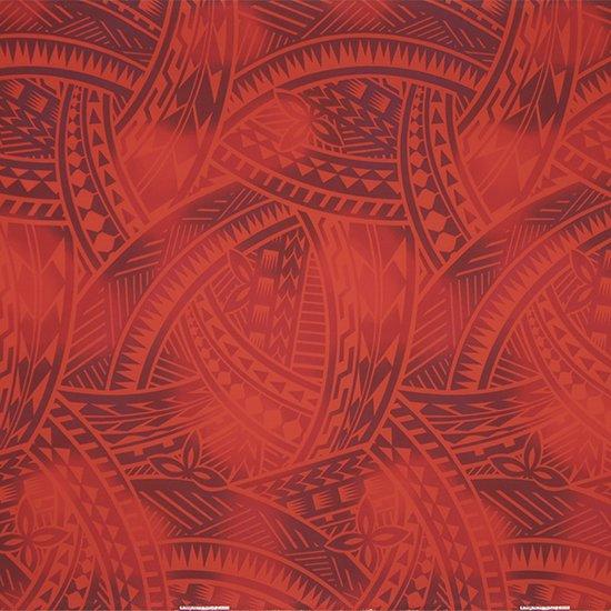 赤のハワイアンファブリック トライバル・グラデーション柄 fab-2831RD 【4yまでメール便可】