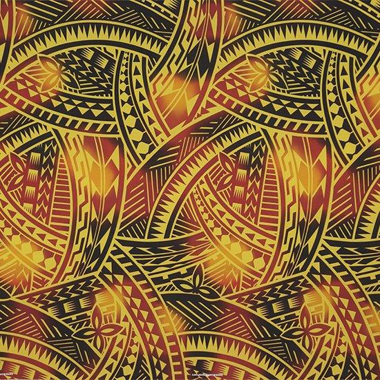 黄色のハワイアンファブリック トライバル・グラデーション柄 fab-2831YW 【4yまでメール便可】