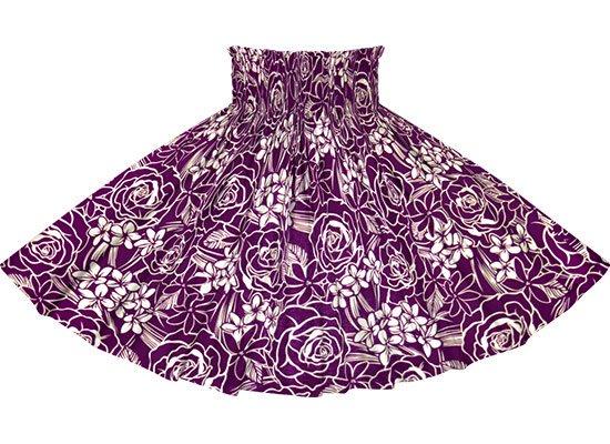 【蔵出し】 紫のパウスカート ローズ・プルメリア・ティアレ柄 spau-2711PP