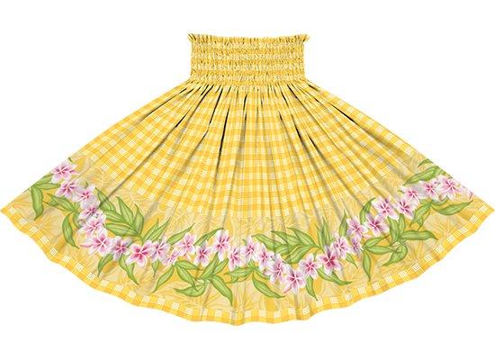 【ポエポエパウスカート】 黄色のパラカ柄にプルメリアのポエポエ pppau-2796YW
