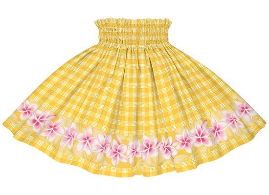 【ケイキ・ポエポエパウスカート】 黄色のパラカ柄にプルメリアのポエポエ kpppau-2796YW