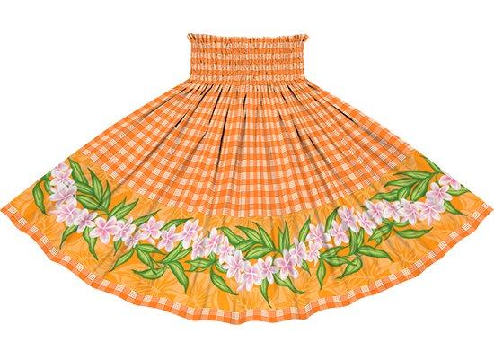 【ポエポエパウスカート】 オレンジのパラカ柄にプルメリアのポエポエ pppau-2796OR