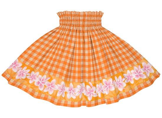 【ケイキ・ポエポエパウスカート】 オレンジのパラカ柄にプルメリアのポエポエ kpppau-2796OR