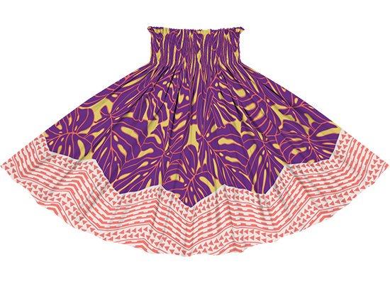 黄色と紫のパウスカート モンステラ・カヒコ柄 spau-rm-2798YWPP 75cm 4本ゴム 【既製品】