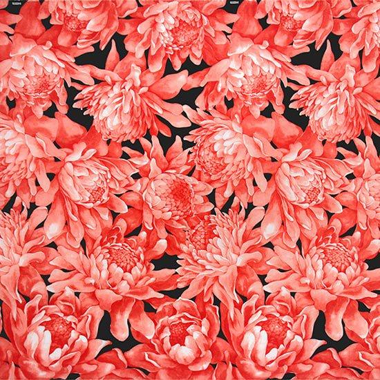 【カット生地】 (1.5ヤード) 赤のハワイアンファブリック トーチジンジャー柄 fab-1.5y-2704RD 【4yまでメール便可】