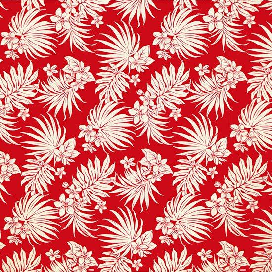 【カット生地】 (2ヤード) 赤のハワイアンファブリック プルメリア・ヤシ柄 fab-2y-2770RD 【4yまでメール便可】