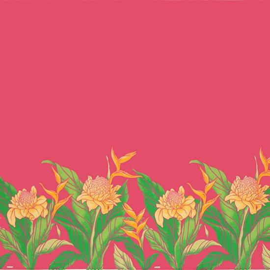 【カット生地】(3.5ヤード) ピンクのハワイアンファブリック プロテア・バードオブパラダイス柄 fab-3.5y-2627Pi 【4yまでメール便可】