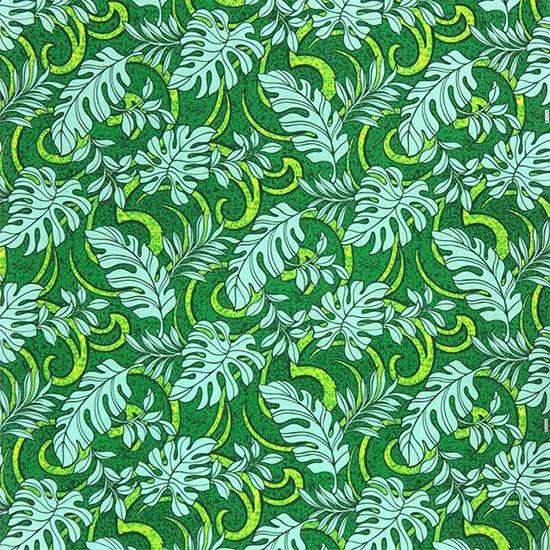 【カット生地】(3.5ヤード) 緑のハワイアンファブリック モンステラ・トロピカルリーフ柄 fab-3.5y-2691GN 【4yまでメール便可】