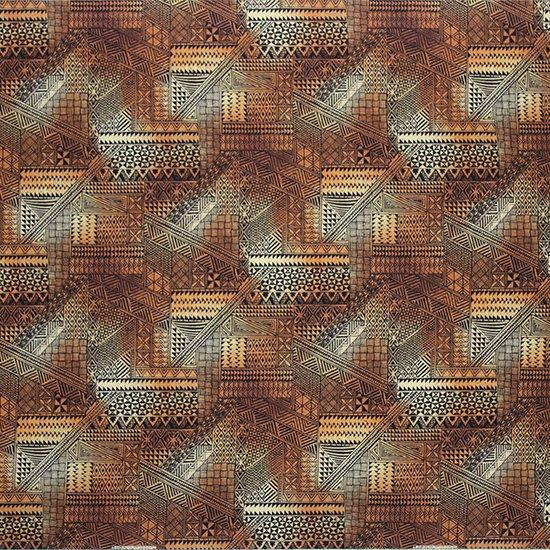茶色のハワイアンファブリック タパ・グラデーション柄 fab-2838BR 【4yまでメール便可】