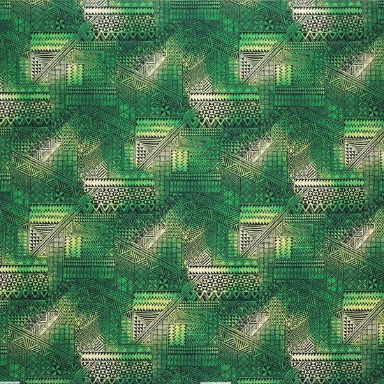 緑のハワイアンファブリック タパ・グラデーション柄 fab-2838GN 【4yまでメール便可】