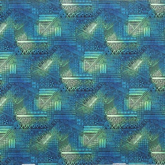 ヒスイ色のハワイアンファブリック タパ・グラデーション柄 fab-2838JD 【4yまでメール便可】