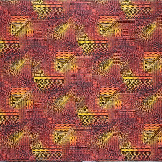 赤のハワイアンファブリック タパ・グラデーション柄 fab-2838RD 【4yまでメール便可】