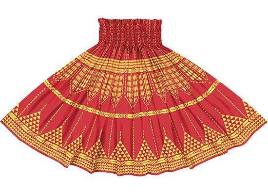 赤のパウスカート カヒコ柄リバース spau-2835RD-rev