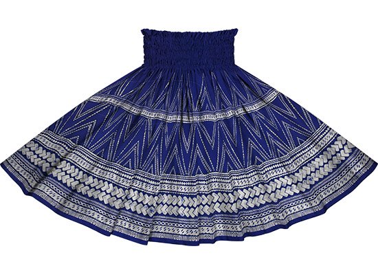 青のパウスカート カヒコ・タパ柄 spau-rm-2837BL 仕上がり丈約73cm 4本ゴム 【既製品】