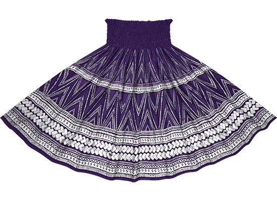紫のパウスカート カヒコ・タパ柄 spau-rm-2837PP 仕上がり丈約73cm 4本ゴム 【既製品】