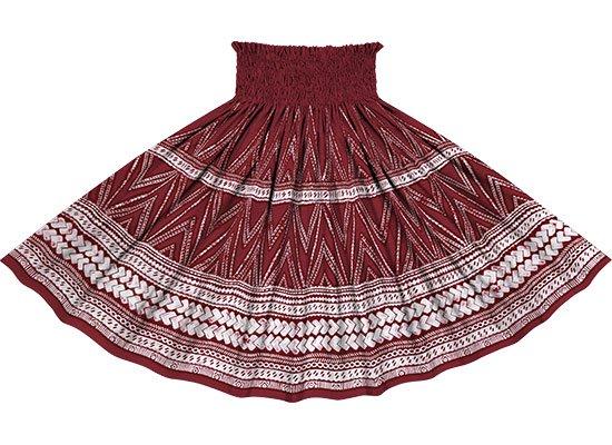 赤のパウスカート カヒコ・タパ柄 spau-rm-2837RD 仕上がり丈約73cm 4本ゴム 【既製品】
