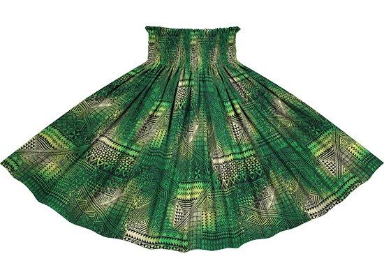 緑のパウスカート タパ・グラデーション柄 spau-rm-2838GN 仕上がり丈約73cm 4本ゴム 【既製品】