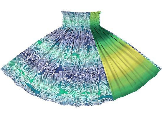 【たて切り替えパウスカート】 青と緑のバナナリーフ・グラデーション柄ときみどりのグラデーション vypau-2833BLGN