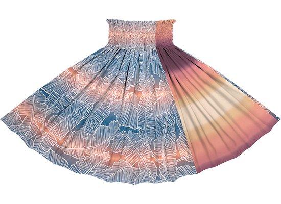 【たて切り替えパウスカート】 青とオレンジのバナナリーフ・グラデーション柄とオレンジのグラデーション vypau-2833BLOR