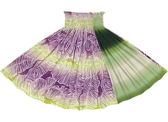【たて切り替えパウスカート】 紫ときみどりのバナナリーフ・グラデーション柄ときみどりのグラデーション vypau-2833PPLG