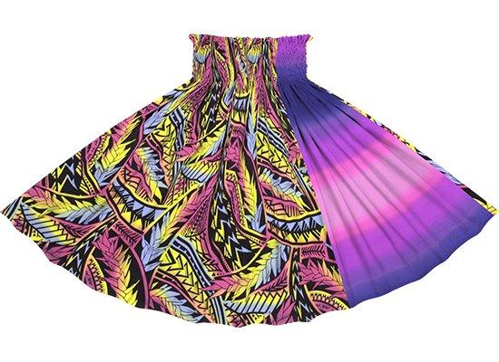 【たて切り替えパウスカート】 ピンク系マルチカラーのトライバル・リーフ柄とピンクのグラデーション vypau-2836MPi