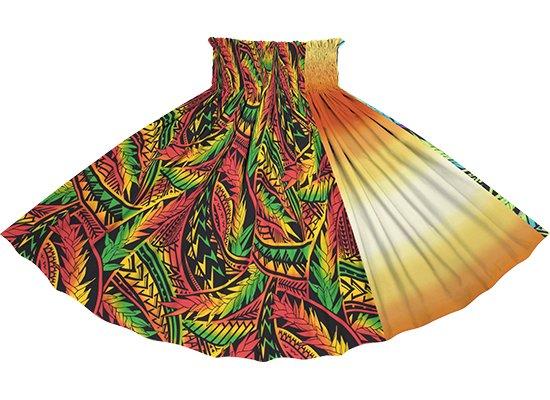 【たて切り替えパウスカート】 赤系マルチカラーのトライバル・リーフ柄と黄色のグラデーション vypau-2836MRD