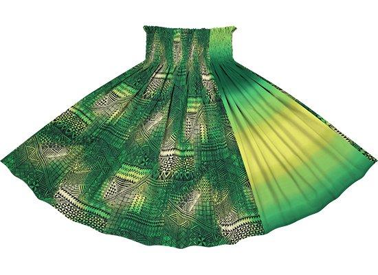 【たて切り替えパウスカート】 緑のタパ・グラデーション柄ときみどりのグラデーション vypau-2838GN