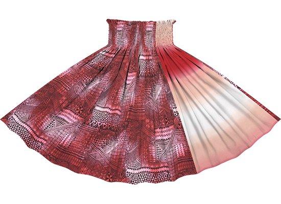 【たて切り替えパウスカート】 ピンクのタパ・グラデーション柄と赤のグラデーション vypau-2838Pi