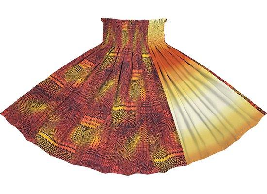 【たて切り替えパウスカート】 赤のタパ・グラデーション柄と黄色のグラデーション vypau-2838RD