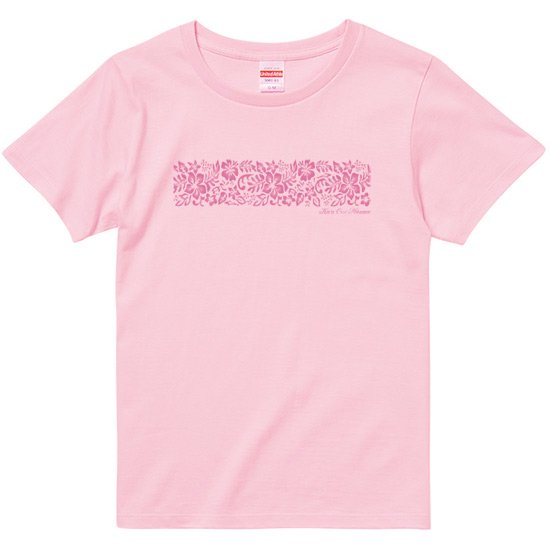 レディースTシャツ−グラデーション ハイビスカス ピンク 【2枚までメール便可】