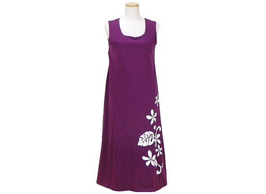 白いプルメリアとモンステラ柄のノースリーブワンピース 紫