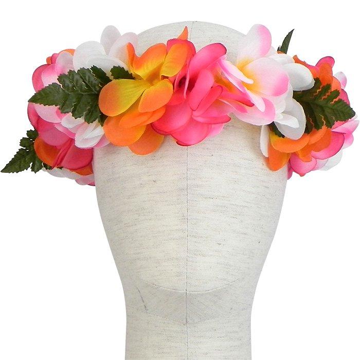 白、オレンジ、ピンクのプルメリアレイ レイポオ 頭用 FL44800_Mix