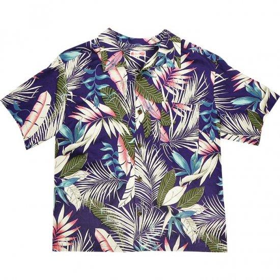 <img class='new_mark_img1' src='https://img.shop-pro.jp/img/new/icons22.gif' style='border:none;display:inline;margin:0px;padding:0px;width:auto;' />【アウトレット】紫のメンズ アロハシャツ ヤシ・バードオブパラダイス柄 otlt-aloha-rayonPP-men【既製品】