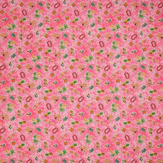 ピンクのポッププリントファブリック トロピカル柄 Fab-2184Pi 【4yまでメール便可】