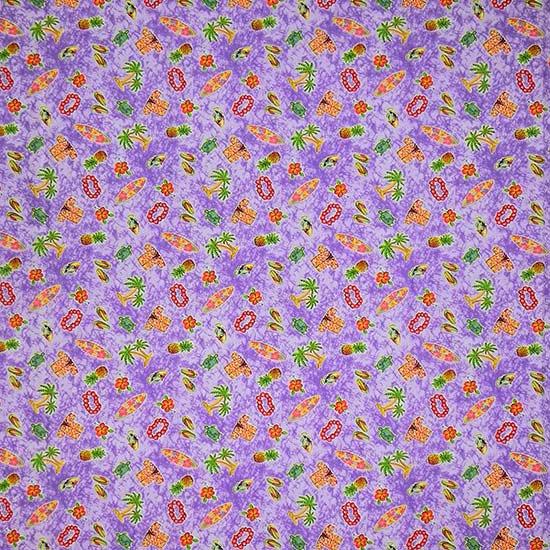 紫のポッププリントファブリック トロピカル柄 Fab-2184PP 【4yまでメール便可】