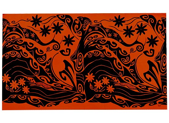 【wahine toa】大判パレオ ワヒネトア オレンジのNALU柄  wahinetoa_pareo_b_OR