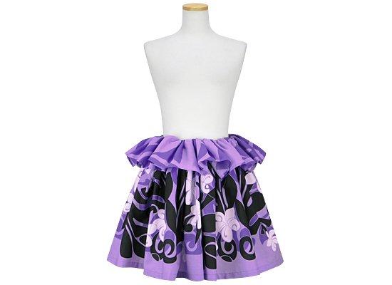紫のタヒチアンスカート プルメリア・モンステラ柄 tahiti-skt-2086PP-45cm-2line