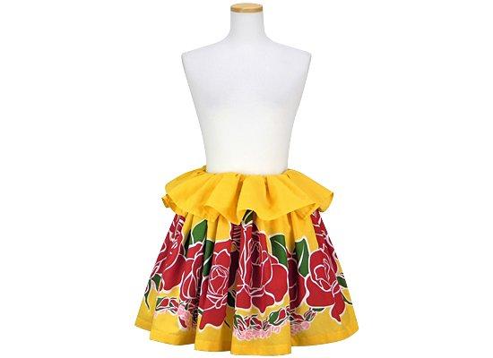 黄色のタヒチアンスカート チューベローズ・ピカケ柄 tahiti-skt-2165YW-45cm-2line