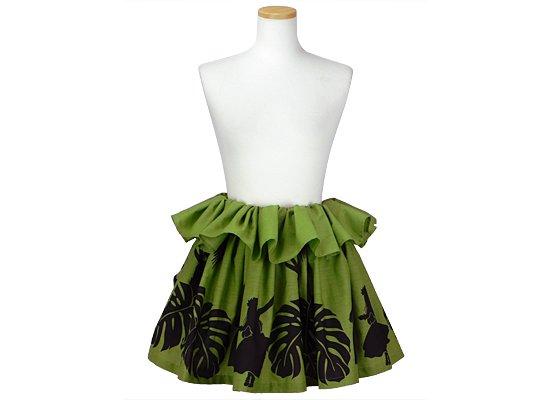 緑のタヒチアンスカート フラシスター・モンステラ柄 tahiti-skt-2240GN-40cm-2line