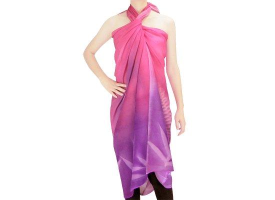 【ボゾ】パレオ ピンク・紫系 ラウアエ・クプクプ柄bozo_pareo_0032【メール便可】