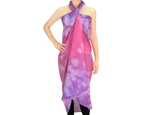 【ボゾ】パレオ ピンク・紫系 リーフ柄bozo_pareo_0036【メール便可】