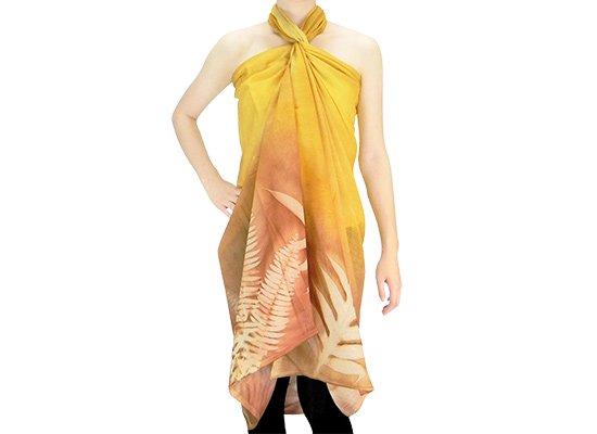 【ボゾ】パレオ 黄色・ブラウン系 ラウアエ・クプクプ柄 bozo_pareo_043 【メール便可】