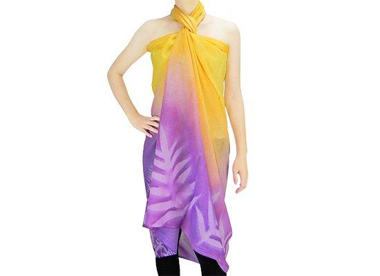 【ボゾ】パレオ 黄色・紫系 ラウアエ・クプクプ柄 bozo_pareo_042【メール便可】